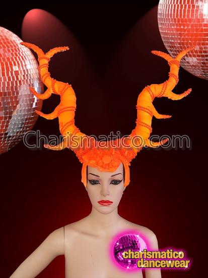 CHARISMATICO  Orange Beads Halloween Majestic Horn Headdress