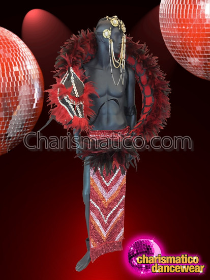 CHARISMATICO Dragon Men Costume With Headdress And Feathers For Stage Performers
