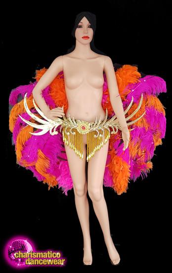 Fuchsia And Orange Cabaret Ostrich Belt Clearance Us 4-8