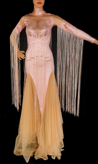 Valentine Pastel Pink Pageant Diva Gown Bodysuit With Arm Tassels Us0-Us6