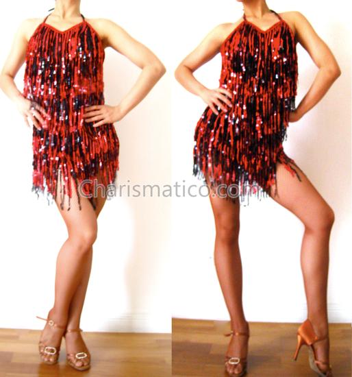 Black Red SALSA DANCE Dress