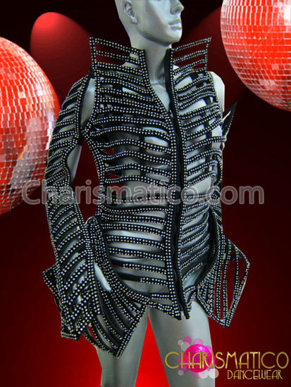CHARISMATICO Black GAGA Rhinestone Covered Futuristic Jacket, Shin Guards, and Arm Warmer Set