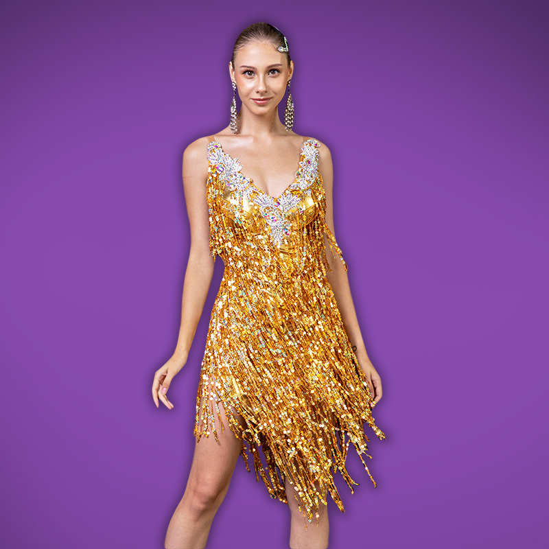 Sequin Fringe Dance Dress