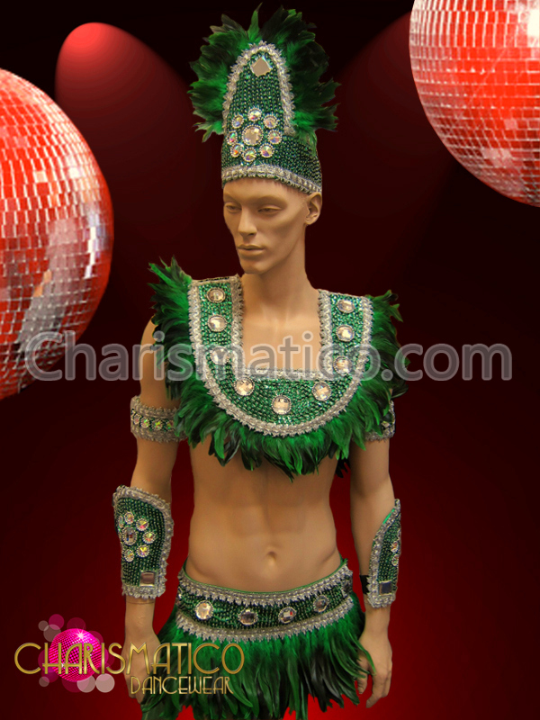 d9604f527391f Male Green Brazilian Indian Feather costume with iridescent crystal accents