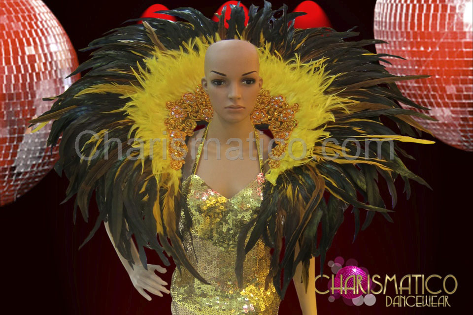 38270fdd86da Drag Queen Gold accented yellow and black feather collar backpack
