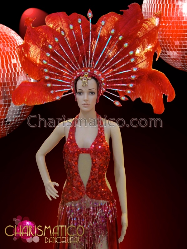33e2bc6bc8 ... CHARISMATICO Red Sexy Sequined Gown With Flowing Skirt And Ostrich  Feather Headdress ...