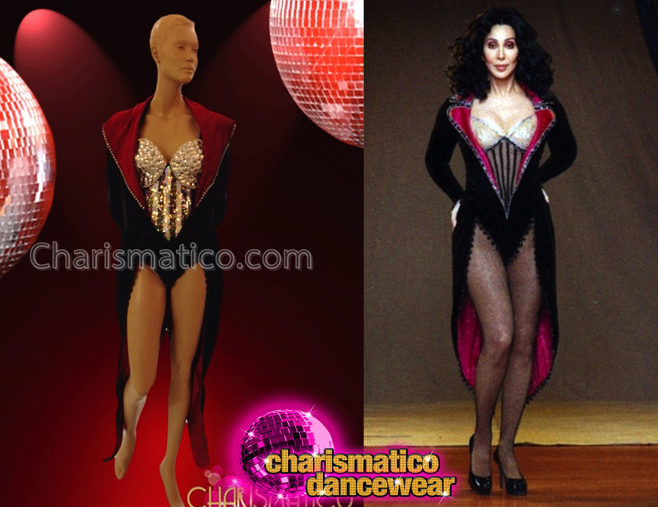 b4a74df3aa1a Charismatico red trimmed ringmaster coat and sequin leotard cher jpg  1280x985 Cher catsuit