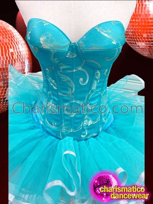 7aa1476e206 CHARISMATICO Sleek Silver Accented Sky Blue Brocade Corset and Tutu Skirt