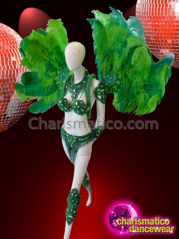 4f362a4b58c28 CHARISMATICO Emerald Green Beaded Samba Costume With ...