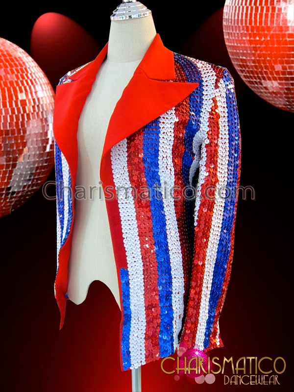 bfec139a CHARISMATICO Patriotic Red, White, And Blue 4th Of July Sequined Cabaret  Jacket