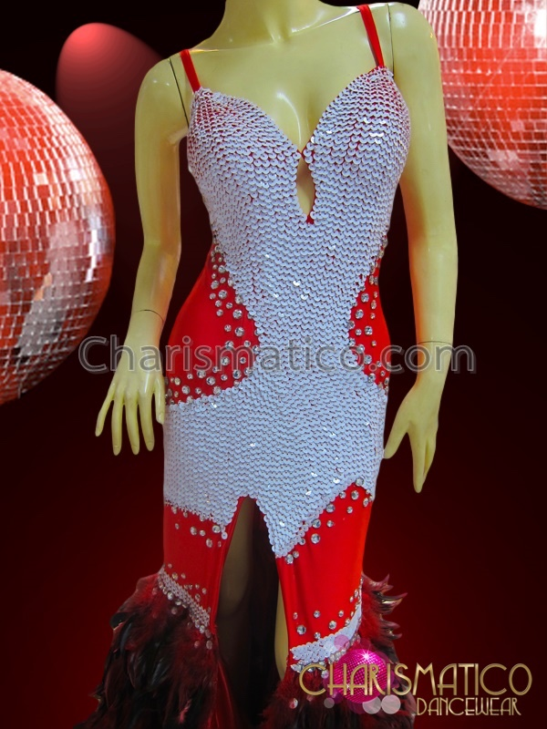 d1db5c0df2 CHARISMATICO Red and White Sequined Vegas Showgirl Gown with Ostrich  Feather Skirt