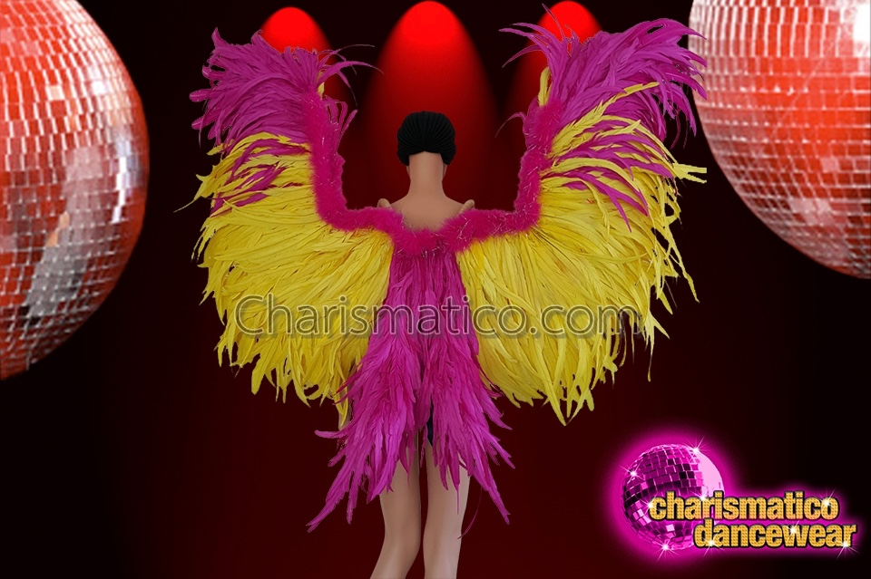 67a19ca22eb1 CHARISMATICO Drag queen fuchsia and bright yellow feather wings