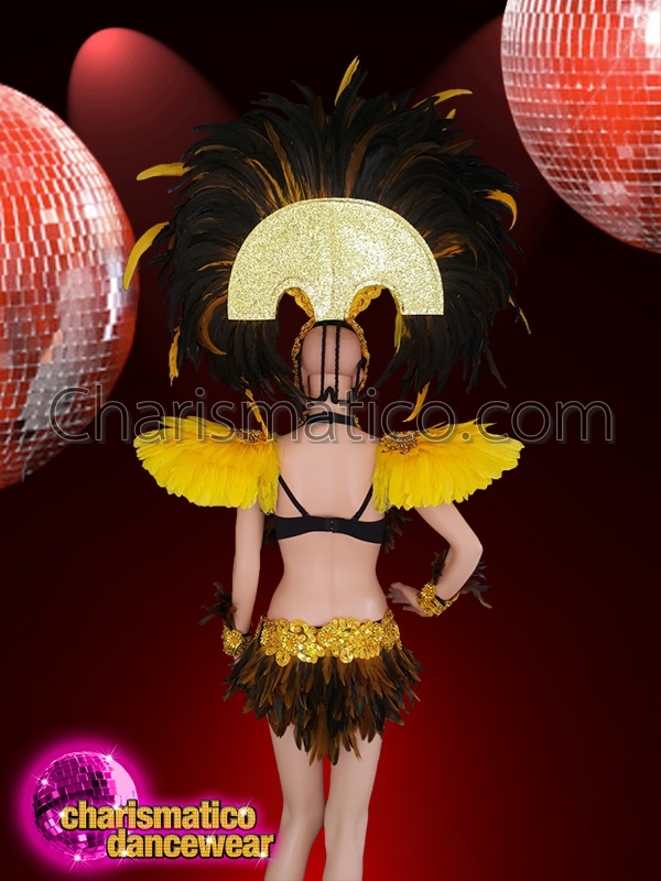 103cf4642188 CHARISMATICO Drag queen costume for Samba dance in yellow, brown and black  feathers
