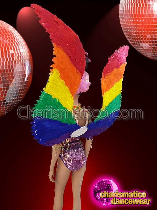 1e16e791e CHARISMATICO Beaded Leotard with Necklace and Pride Gay Rainbow Feather  Wings