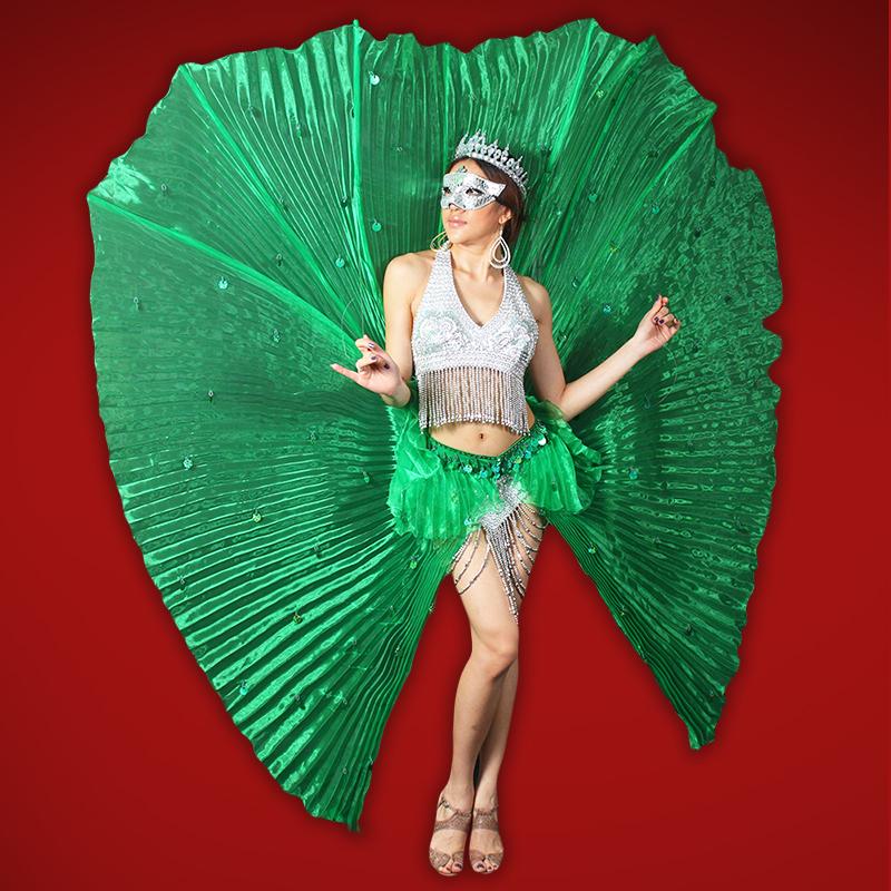 CHARISMATICO CUSTOM GREEN PINK FLAPPER Moulin Salsa Latin FRINGE dance dress