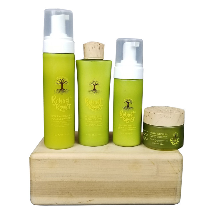 Our body cries for the right kind moisture. Try our ROBUST ROOTS  MORNING DEW  restoration products, it revitalizes, rejuvenates, and penetrates deeply into the roots of the hair. Nothing comes close to the rare properties used in ROBUST ROOTS ingredients.  Intensely repairs and strengthens hair within 2 weeks of continued use. Hair becomes and feel healthier, stronger ,softer and shinier.  NOTE .Regular TRIMMING is important.   DIRECTIONS;  STEP 1.  Apply CHATTO ROBUST ROOTS REPAIR AND REBUILD FOAMING  SHAMPOO ,massage into wet hair, shampoo twice if possible then rinse well.  STEP 2.Follow up with PROTEIN AND KERATIN RE-CONSTRUCTION DEEP CONDITIONER Massage into wet hair FOR 15  -20 minutes .(Excellent for detangling and Damaged ends} rinse well.  STEP 3.  After deep conditioning towel blot hair and smooth through damp hair from scalp to end. Excellent for Itchy scalp. DO NOT RINSE  STEP 4. Apply DAMAGED HAIR FERTILIZER to affected areas  STEP 5. Use MORNING DEW REPAIR MIST for overall hair if hair is Curly ,Wavy,Chemo Or Natural. (For straight or caucasian hair,apply to only affected areas)  STEP 6.  Use REMEDY OIL 2-3 TIMES A WEEK DIRECTLY ON THE SCAP. Can also be mix with the LEAVE-IN CONDITIONER for dryness, iching or flakiness   STEP 7. VITAMIN may be taking daily.May promote hair growth, healthy skin and strong nails;  FOR NATURAL HAIR    ROBUST ROOTS STEP BY STEP INSTRUCTIONS Our hair cries for moisture. Try our ROBUST ROOTS restoration products for healthy growth to revitalize, rejuvenate and penetrate deeply into the roots of the hair; suitable for men, women and children. Nothing comes close to the rare properties used in ROBUST ROOTS ingredients.      STEP 1.CHATTO REPAIR AND REBUILD FOAMING SHAMPOO   STEP 2:PROTEIN KERATIN RE-CONSTRUCTOR (DEEP CONDITIONER)   STEP 3: FOAMING REMEDY LEAVE-IN CONDITIONER   STEP 4:DAMAGED HAIR FERTILIZER   STEP 5;MORNING DEW REPAIR MIST   STEP 6:REMEDY OIL   STEP 7:VITAMINS (BIOTIN) FOR HAIR, SKIN AND NAILS