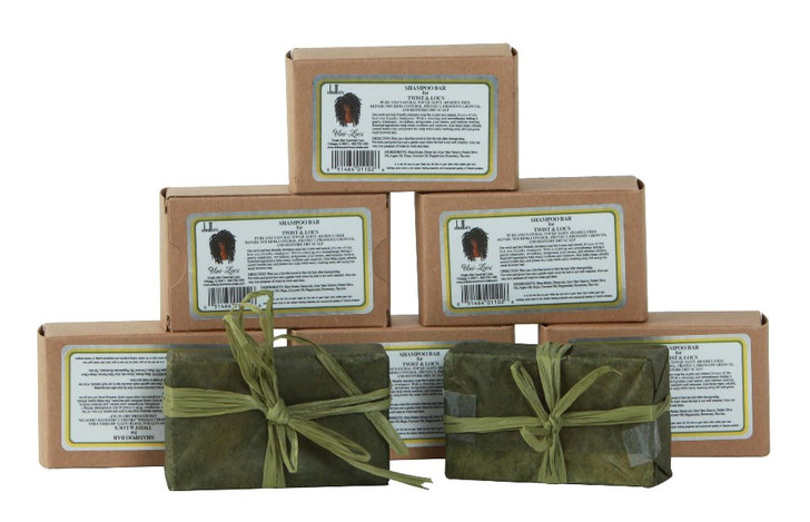 Our handcrafted earth and hair friendly shampoo soap bar is pure, natural and simply one of the best eco-friendly shampoos. The relaxing therapeutic feeling gently stimulates, revitalizes, invigorates your senses, and releases tension. The invigorating effect will absolutely captivate you. The All-Natural Shampoo Bar helps repair, rebuild and control broken hair, promote growth and protect dry scalp while easily wash away dirt and grime trapped between hair strands.  NO ANIMAL INGREDIENTS OR TESTING NO SYNTHETIC CHEMICALS NO PRESERVATIVES OR COLOR 100% BIODEGRADABLE Chatto offers one of the best all-natural residue free shampoo bars formulated to strengthen the hair, open the follicles, protect the hair structure and promote hair growth. This non-residue shampoo bar's selected ingredients and herbal blends clean the pores of locs.