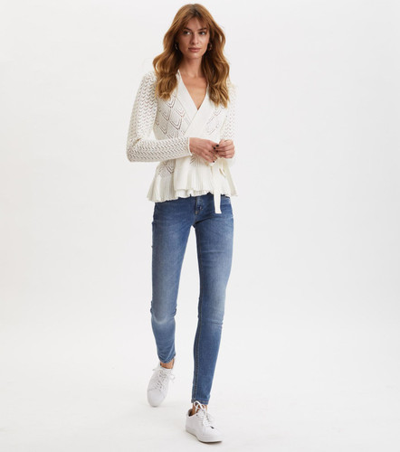 Odd Molly Every Hour Frill Cardigan - Light Chalk