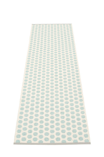 Pappelina Noa Rug Pale Turquoise/Vanilla with Warm Grey Stripe