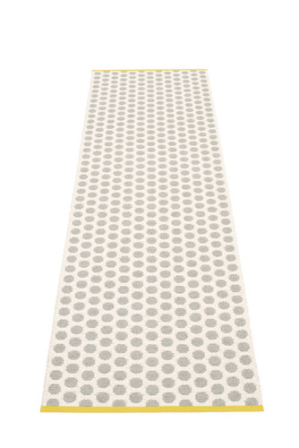 Pappelina Noa Rug Warm Grey/Vanilla with Mustard Stripe