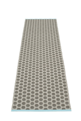 Pappelina Noa Rug Charcoal/Warm Grey with Turquoise Stripe