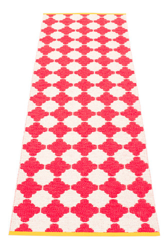 Pappelina Marre Rug Coral Red/Vanilla with Mustard Stripe