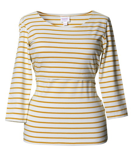 Boob Top Simone 3/4 sleeve stripe honeydew