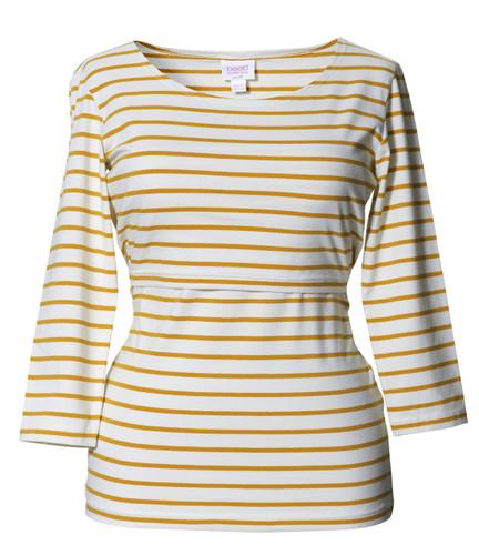 Boob Top Simone 3/4 sleeve stripe honeydew