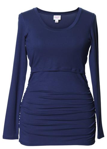 Boob Design Long Sleeve Maternity/Nursing Top Ruched - Cobolt