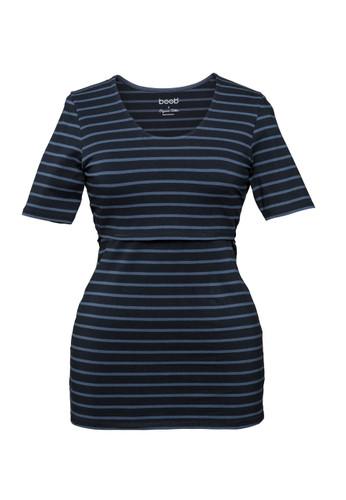 Boob Nursing Top Simone short sleeve stripe midnight blue/saragasso