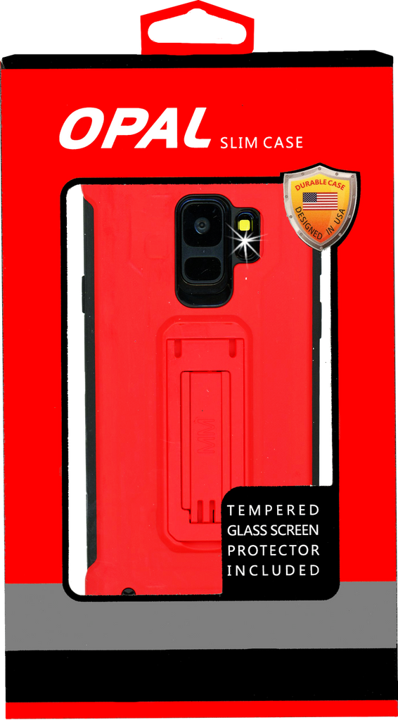 Samasung Galaxy S9 MM Opal Kickstand Case Red(Full Curved  Tempered Glass Included)