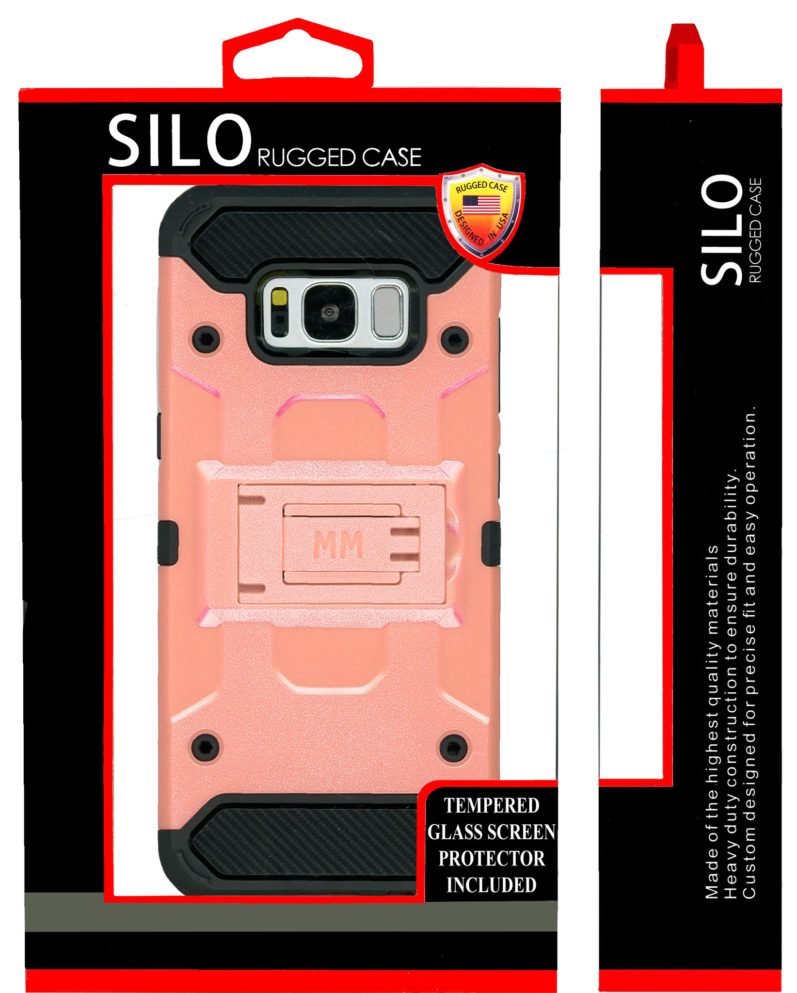 Samsung Galaxy S8 Plus Mm Silo Rugged Case Rose Gold Curved Tempered Glass Included