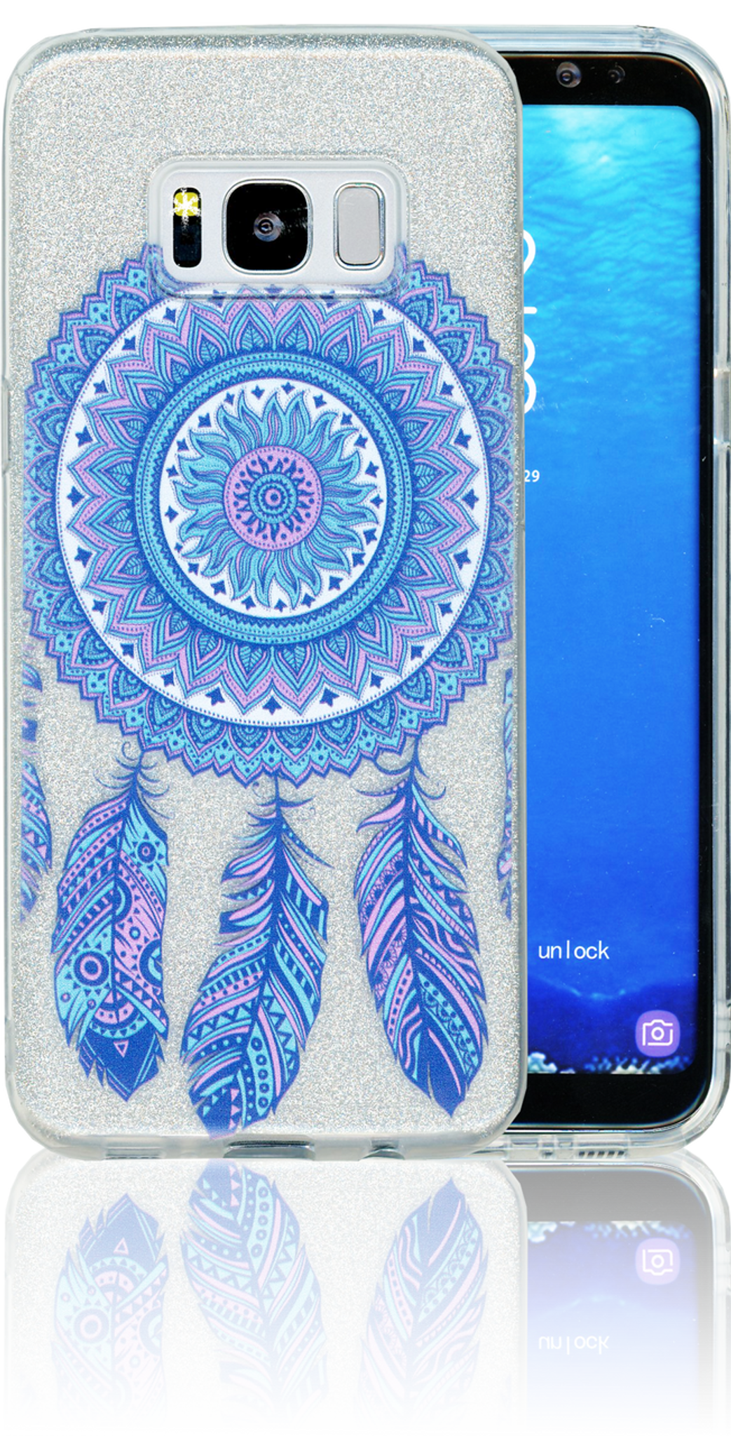 Samsung Galaxy S8 MM Feathers Glitter Hybrid