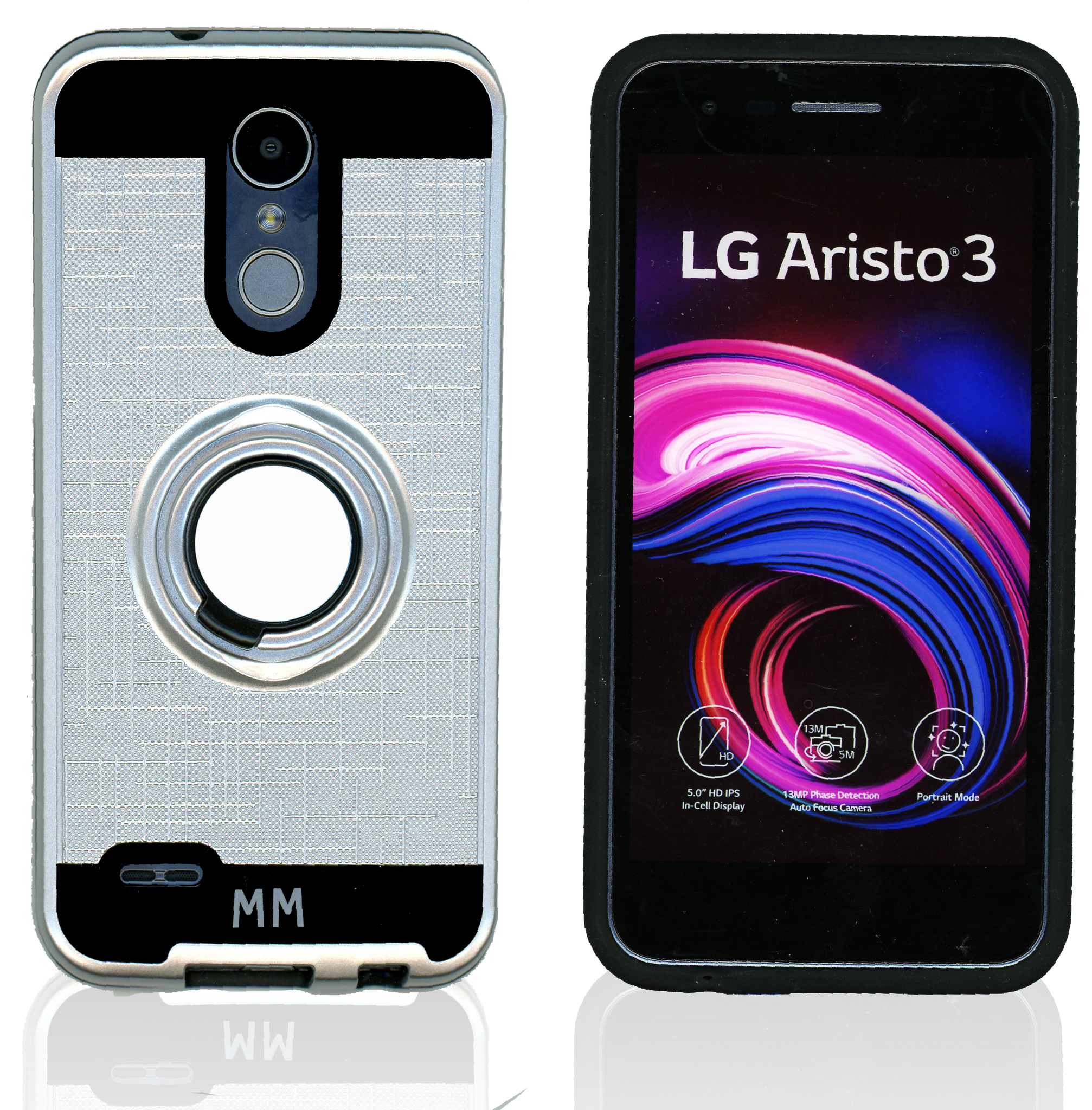 LG Aristo 3+/3/2/EMPIRE MM Ring Stand Case Silver