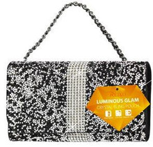 Universal Reiko Horizontal Bling Diamonds Pouch 6 In Black