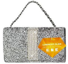 Universal Reiko Horizontal Bling Diamonds Pouch 5.5 In Silver