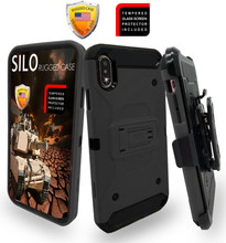 iPhone XS MAX MM Silo Rugged Case Dark Grey(Full Covered Tempered Glass Included)
