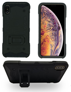 IPHONE XS MAX MM Opal Kickstand Case Black (Tempered Glass Included)