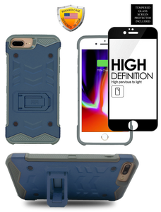 IPHONE 8 PLUS /7 PLUS  MM Opal Kickstand Case Navy(Tempered Glass Included)