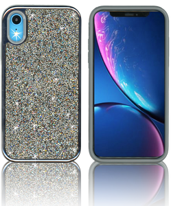 IPHONE XR MM Electroplated Full Bling Hybrid Black