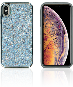 IPHONE XS Max MM Electroplated Full Bling Hybrid Blue