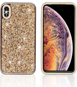 IPHONE XS Max MM Electroplated Full Bling Hybrid Gold