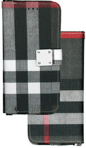 Iphone 7/8 MM Portfolio Wallet Gray Plaid