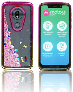 Motorola G7 Play MM Electroplated Water Glitter Hot Pink - Gold