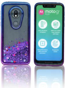 Motorola G7 Play MM Electroplated Water Glitter Blue - Purple