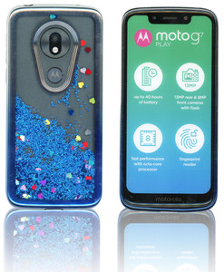 Motorola G7 Play MM Electroplated Water Glitter Silver Blue