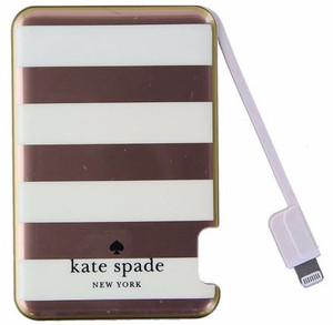 Kate Spade Lightning Slim Portable Charger Purple Strips