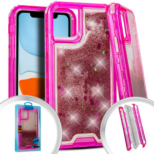 Iphone 11 PRO Water Glitter Hybrid Hot Pink