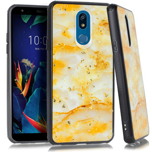 Lg Stylo 5 MM Marble Case Chrome Gold