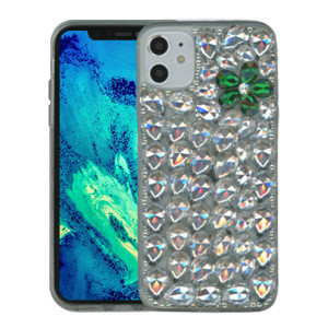 Iphone 11 3D Bling Silver With Green Flower
